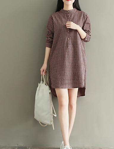 Damskie Bawełna Shift Sukienka - Kratka Półgolf Przed kolano