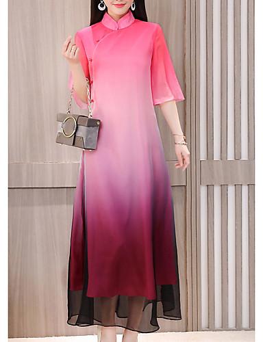 c3a37ca060a Women s Plus Size Daily Basic Maxi Chiffon Dress - Rainbow High Waist  Turtleneck Spring Green Red