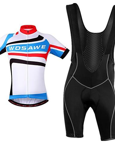 cheap Cycling Clothing-WOSAWE Men's Cycling Jersey with Bib Shorts - Blue / White Stripes Bike Bib Shorts Jersey Clothing Suit Breathable Moisture Wicking Reflective Strips Back Pocket Sports Polyester Stripes Mountain