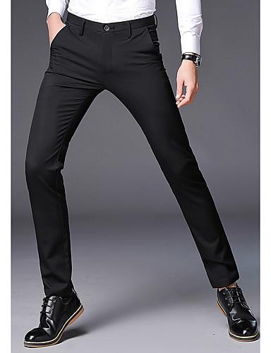 Męskie Garnitury Spodnie - Solidne kolory Czarny