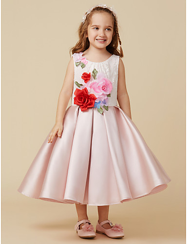 Ball Gown Knee Length Flower Girl Dress - Satin Sleeveless Jewel Neck with  Lace   Flower by LAN TING BRIDE® 173d92149deb