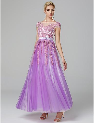 c0bb888ab4e2 Γραμμή Α Illusion Seckline Μακρύ Δαντέλα πάνω από τούλι Χοροεσπερίδα Φόρεμα  με Χάντρες   Βολάν με TS Couture®