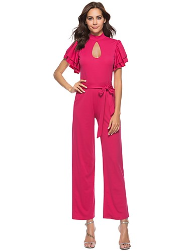 9b402633a05 Women's Daily / Holiday Street chic Turtleneck Black Yellow Fuchsia Slim  Jumpsuit, Solid Colored Ruffle / Lace up Petal Sleeves L XL XXL Short Sleeve  Spring ...