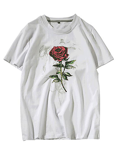 Rozmiar plus T-shirt Męskie Aktywny Bawełna Okrągły dekolt Kwiaty / Krótki rękaw
