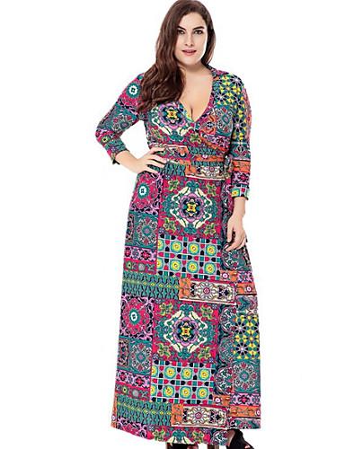 Women's Street chic Slim Sheath Dress - Geometric Maxi V Neck