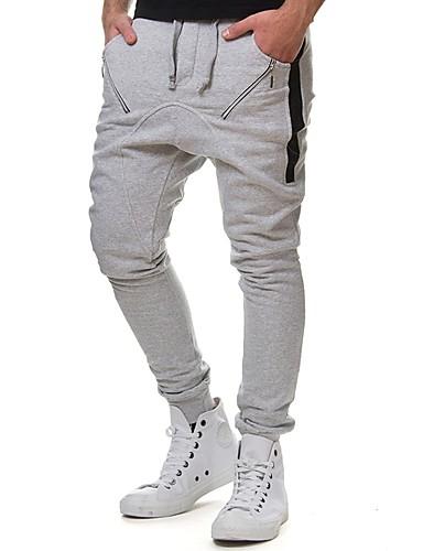 สำหรับผู้ชาย พื้นฐาน กางเกง Chinos กางเกง - สีพื้น สีดำ