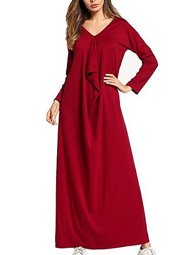 Damskie Wyjściowe Moda miejska Sukienka swingowa Sukienka - Jendolity kolor W serek Maxi