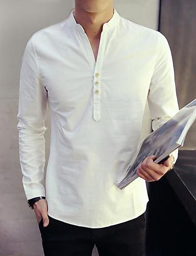 Koszula Męskie Wzornictwo chińskie Solidne kolory / Długi rękaw