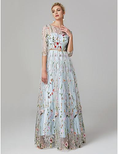 preiswerte Abendkleider-A-Linie Illusionsausschnitt Boden-Länge Spitze / Tüll Formeller Abend Kleid mit Stickerei durch TS Couture® / Transparente