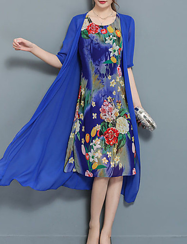 Women's Plus Size Going out Chiffon / Two Piece Dress - Floral Blue, Print