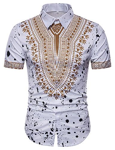 お買い得  メンズシャツ-男性用 プリント プラスサイズ シャツ ワイドカラー トライバル ホワイト XL / 半袖 / 夏