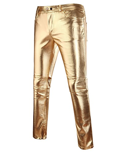 cheap Chinos-Men's Punk & Gothic Slim Chinos Pants - Solid Colored Gold / Spring / Fall / Club