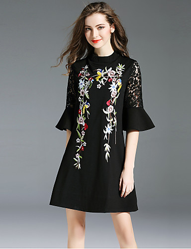 Damskie Wyjściowe Vintage / Moda miejska Bawełna Flare rękawem Mała czarna Sukienka - Kwiaty, Haft Półgolf Mini