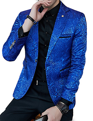 abordables Blazers & Costumes Homme-Homme Soirée / Travail Normal Blazer, Couleur Pleine Col en V Manches Longues Polyester Noir / Bleu royal XL / XXL / XXXL