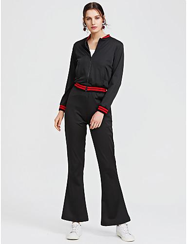 abordables Hauts pour Femmes-Femme Travail Court Sweat à capuche - Couleur Pleine Taille haute Pantalon / Automne