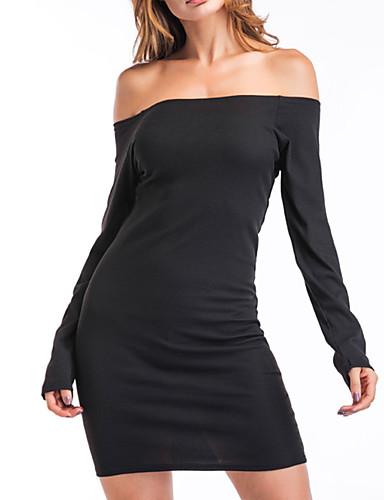 Damskie Urlop Shift Sukienka - Jendolity kolor Z odsłoniętymi ramionami / Bateau Przed kolano / Lato