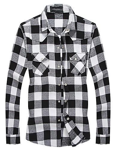 Koszula Męskie Moda miejska Bawełna Kołnierzyk klasyczny Kolorowy blok / Długi rękaw