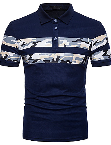b8cbaf1db865 Men's Work Street chic Cotton Slim Polo - Striped / Color Block / Camo /  Camouflage