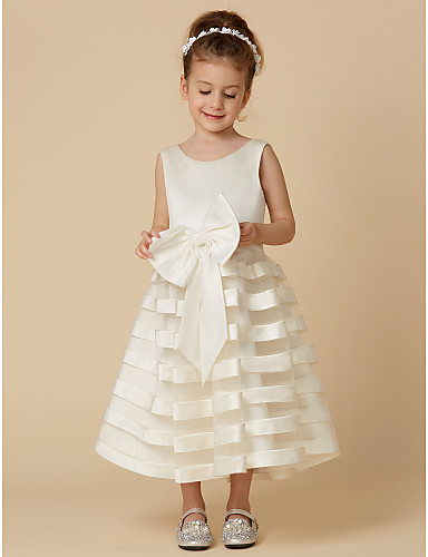 A-Line Tea Length Flower Girl Dress - Satin / Tulle Sleeveless Jewel Neck with Bow(s) by LAN TING BRIDE®