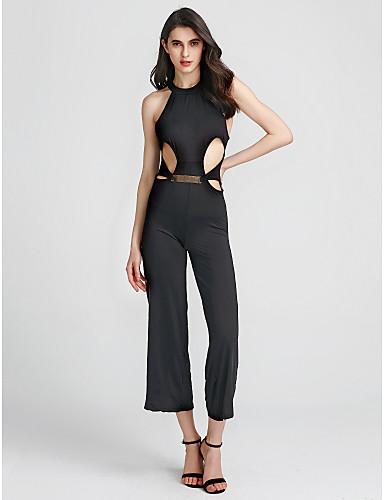 e532b50df7 Women s Backless Party Halter Neck Black Wide Leg Jumpsuit
