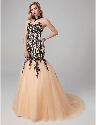 Trompeta / Sirena Cuello Alto Corte Encaje / Tul See Through / Bloque de Color Evento Formal Vestido con Apliques / Encaje por TS Couture®