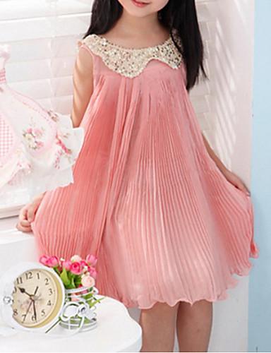 여아 드레스 솔리드, 봄 여름 가을 면 민소매 그린 핑크