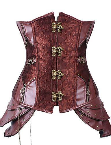 رخيصةأون الأزياء التنكرية التاريخية والقديمة-Steampunk كوستيوم مشد أحمر عتيقة تأثيري بدون كم