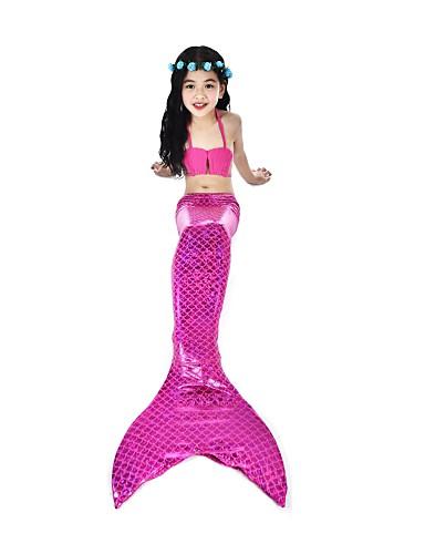 halpa Cosplay ja rooliasut-The Little Mermaid Aqua Princess Uima-asut Bikini Lasten Tyttöjen Aktiivinen Joulu Halloween Karnevaali Festivaali / loma Elastaani tactel Pinkki / Fuksia Karnevaalipuvut Merenneito