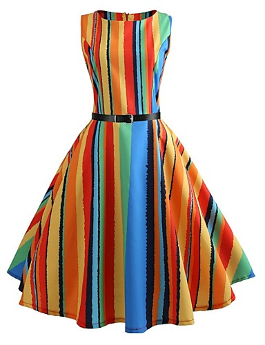 cb0234251ae Women s Going out Vintage A Line Dress - Striped   Rainbow Print