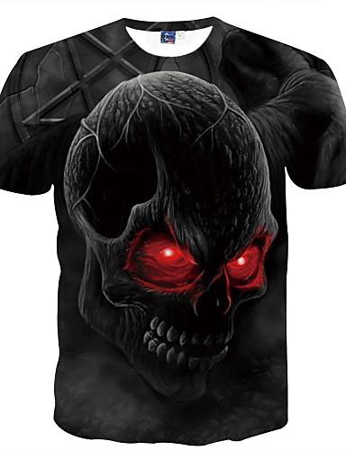voordelige Heren T-shirts & tanktops-Heren Standaard Print T-shirt Club Doodskoppen Ronde hals Zwart / Korte mouw / Zomer