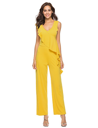 335f1e8b012 Women s Ruffle Going out V Neck Black Red Yellow Slim Jumpsuit
