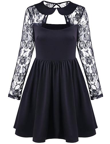 Damskie Szczupła Little Black Sukienka - Jendolity kolor Przed kolano / Lato