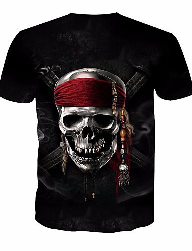 3eea14802137 Ανδρικά T-shirt Βασικό Νεκροκεφαλές Στρογγυλή Λαιμόκοψη Στάμπα Μαύρο XL    Κοντομάνικο   Καλοκαίρι