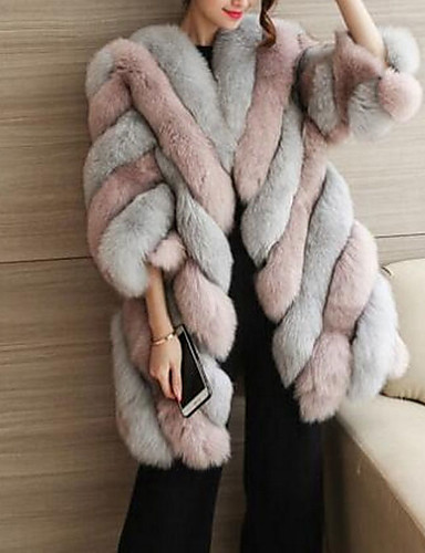 Women's Fall / Winter Plus Size Long Fur Coat, Color Block Black & White Round Neck Long Sleeve Faux Fur Blushing Pink / Wine / Green