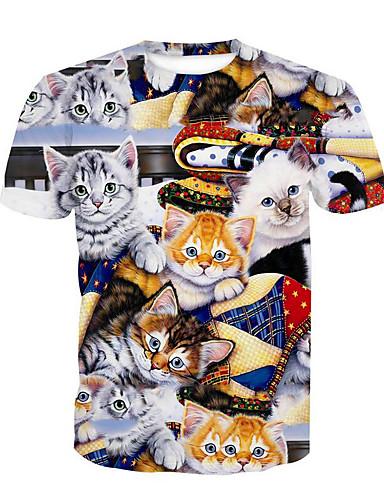 Puszysta T-shirt Męskie Podstawowy Bawełna Okrągły dekolt Zwierzę / Krótki rękaw / Długie