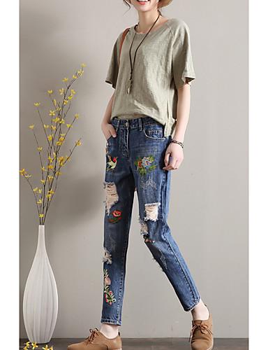 Femme Basique Coton Jeans Pantalon Troue Brodee Fleur Animal