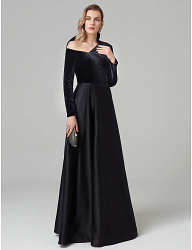 cheap Black Dresses-A-Line One Shoulder Floor Length Satin / Velvet Celebrity Style Prom / Formal Evening Dress with Pleats by TS Couture®