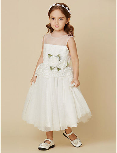 A-Line Knee Length Flower Girl Dress - Lace Tulle Sleeveless Jewel Neck with Flower by LAN TING BRIDE®