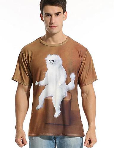 Puszysta T-shirt Męskie Podstawowy Okrągły dekolt Zwierzę / Krótki rękaw