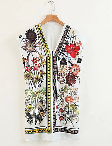 Damskie Moda miejska Koszula Sukienka - Geometric Shape W serek Nad kolano / Lato