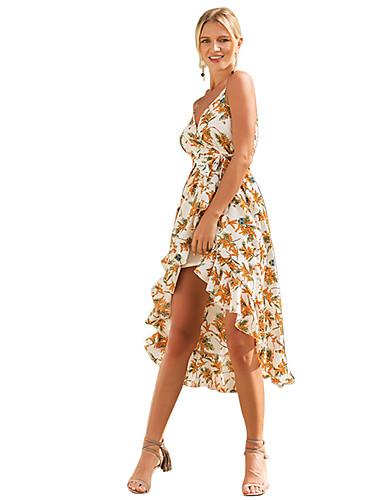 Damskie Boho Sukienka swingowa Sukienka - Kwiaty Asymetryczna