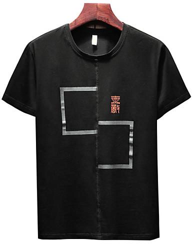 T-shirt Męskie Moda miejska Okrągły dekolt Szczupła - Kolorowy blok / Krótki rękaw