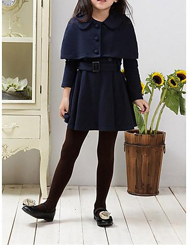 Mädchen Kleid Alltag Solide Polyester Winter Frühling Herbst Langarm Zum Kleid Marinenblau Wein