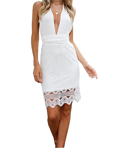 7fb3acba3db Women s Party Daily Basic Slim Sheath Dress - Solid Colored Lace Deep V  Summer White Black M L XL   Sexy