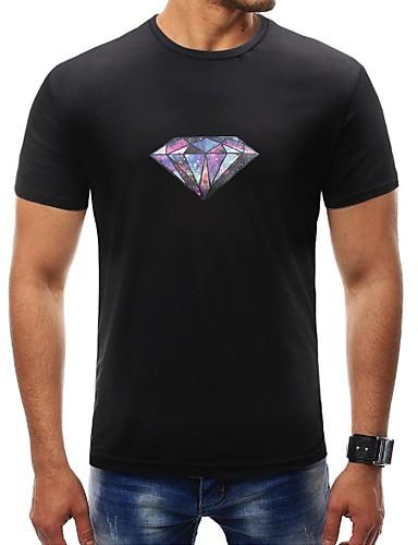 Puszysta T-shirt Męskie Podstawowy, Nadruk Sport Okrągły dekolt Geometric Shape / Krótki rękaw