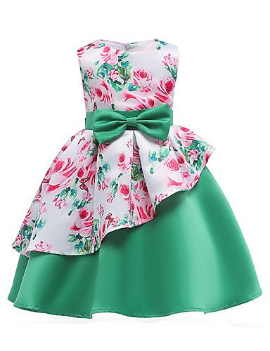 adea944c7d Niños Chica Fiesta   Noche Floral   Retazos Lazo   Estampado Sin Mangas  Algodón   Poliéster Vestido Verde Trébol   Bonito