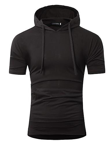 男性用 Tシャツ フード付き ソリッド ブラック L