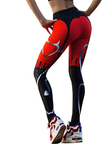 cb9ece6a716 Women s Yoga Pants Black   Red Sports Heart Tights Leggings Zumba Running  Fitness Activewear Lightweight Breathable Quick Dry Stretchy   Winter
