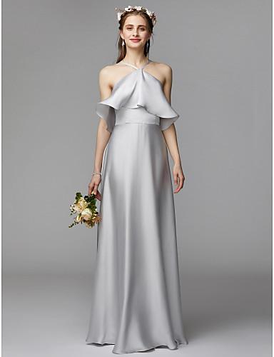 ac9b6b6958a1 A-Line Halter Neck Floor Length Charmeuse / Satin Chiffon Bridesmaid Dress  with Ruffles by LAN TING BRIDE® / Beautiful Back 6634458 2019 – $60.00