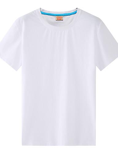 Puszysta T-shirt Męskie Podstawowy / Moda miejska Bawełna Okrągły dekolt Solidne kolory / Krótki rękaw